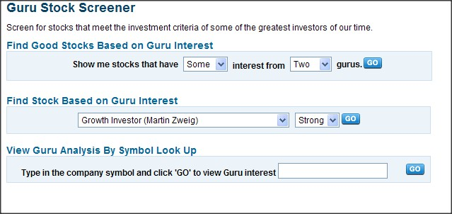 Guru Stock Screener